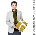 Happy man hold with gift box 19804843