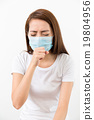 Woman cough with face mask 19804956