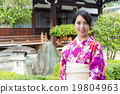 Woman in Japanese temple with kimono 19804963