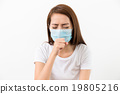 Woman using the protective face mask 19805216