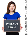 Asian woman hold with chalkboard and showing student loan 19805522