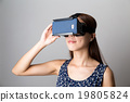 Asian woman experience though VR device 19805824