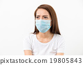 Asian woman wear medical face mask 19805843