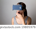 Woman feeling shocking when using the virtual reality device 19805976
