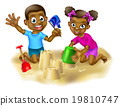 Boy and Girl Making Sand Castles 19810747