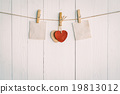 Two blank old paper and red heart hanging.  19813012