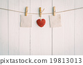 Two blank old paper and red heart hanging.  19813013