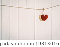 Heart on white wooden background  19813016