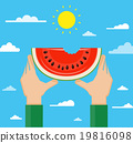 Illustration of hands holding watermelon 19816098