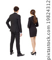 rear view businessman and businesswoman  standing 19824312