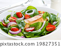 Samon with Spinach salad 19827351