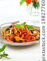 Fettucine with grilled vegetables and tomato sauce 19827760