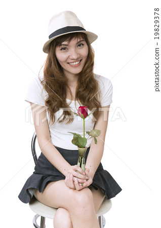 Asian women with flower on a white background 19829378