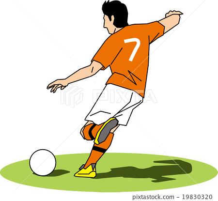 공을 걷어차 기 위하여 노력하는 축구 선수 19830320