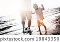 Father Son Playing Soccer Beach Summer Concept 19843350