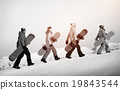 Group of Snowboarders Extreme Skiing Concept 19843544