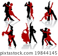 Silhouettes of the pairs dancing ballroom dances 19844145