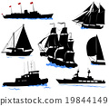 Silhouettes of ships - yacht, fishing boa, warship 19844149