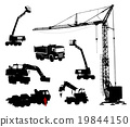 Detailed silhouettes of construction machinery 19844150
