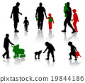 The isolated silhouettes of parents with children 19844186