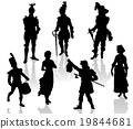 Silhouettes of the actors in theatrical costumes 19844681