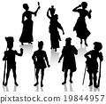 Silhouettes of the actors in theatrical costumes 19844957