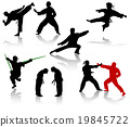 Silhouettes of people in positions of karate 19845722