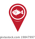 Map Pin Pointer Fish Icon 19847997