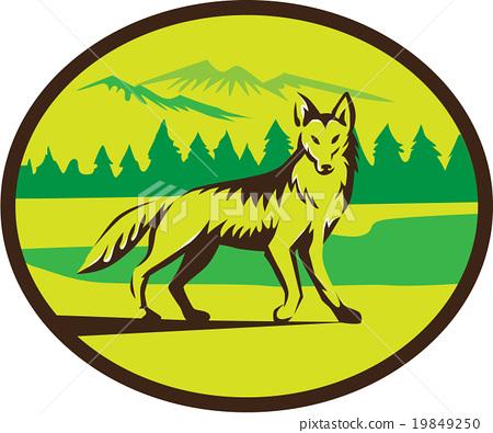Coyote Mountain Landscape Oval Retro 19849250