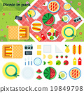 Summer Picnic in Park Banner and Icons 19849798