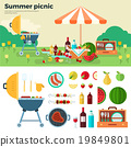 Summer Picnic on Meadow under Umbrella 19849801