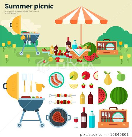 Summer Picnic on Meadow under Umbrella 19849801