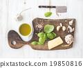 Pesto sauce cooking set. Fresh basil, olive oil 19850816