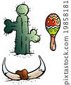 Mexico elements like Maraca, Bull Horn and a Catus 19858181