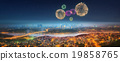 Panorama of Istanbul at night with fireworks 19858765