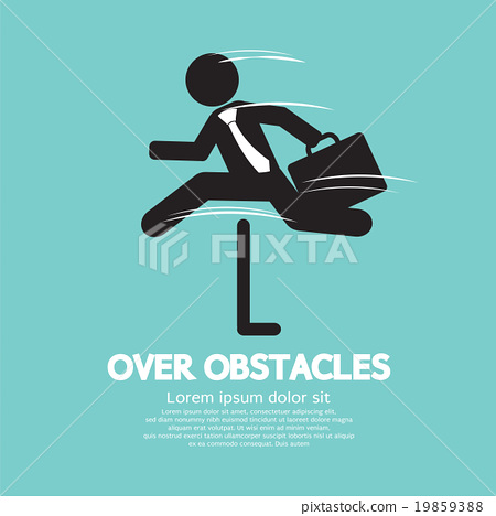 Businessman Jump Over The Obstacles Symbol. 19859388