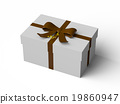 White gift box with Brown ribbon bow 19860947