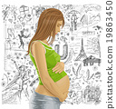 Pregnant Female With Belly Against Love Background 19863450