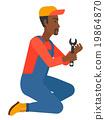 Repairman holding spanner. 19864870