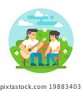 Flat design couple playing guitar 19883403