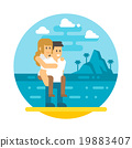 Flat design couple piggyback  beach 19883407