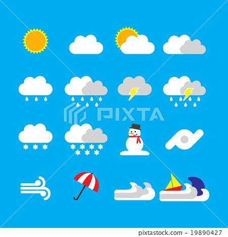 weather icon flat style on blue background 19890427