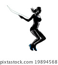 woman Jumping Rope exercises silhouette 19894568