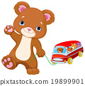 Teddy Bear Plays Toy Bus 19899901