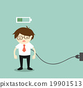 Businessman feeling tired and charging battery. 19901513