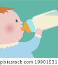 Baby drinking milk from baby bottle 19901931