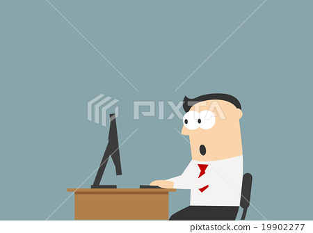Stock Illustration: Shocked businessman looking at the monitor