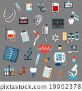 Medical diagnostics, testing and equipment icons 19902378