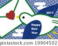 贺年片 小鸟 飞翔 19904502