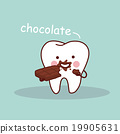 cartoon tooth with chocolate 19905631